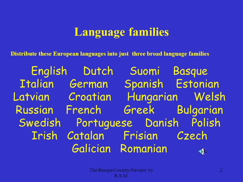 The Basque Country-Navarre by R.S.M. 2 Language families Distribute these European languages into just three broad language families English Dutch Suo