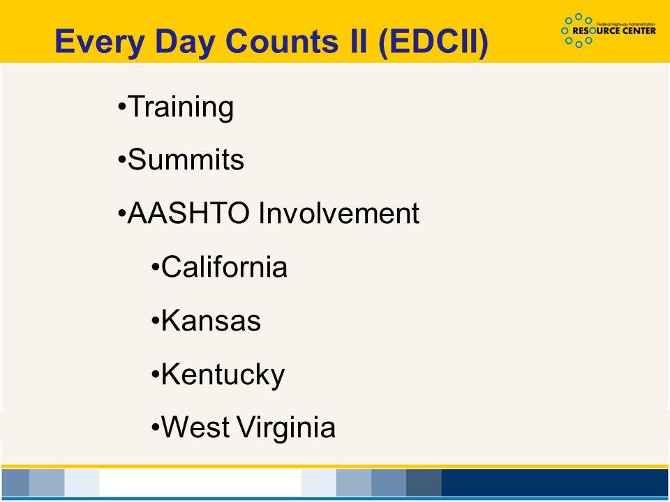 Training Summits AASHTO Involvement California Kansas Kentucky West Virginia Every Day Counts II (EDCII)