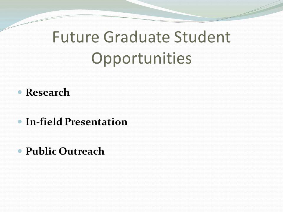 Future Graduate Student Opportunities Research In-field Presentation Public Outreach