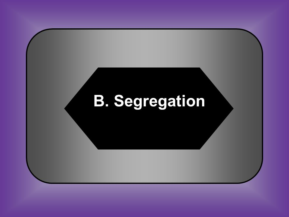 A:B: Ku Klux KlanSegregation C:D: Black CodesDepression #31 Legal separation of the races
