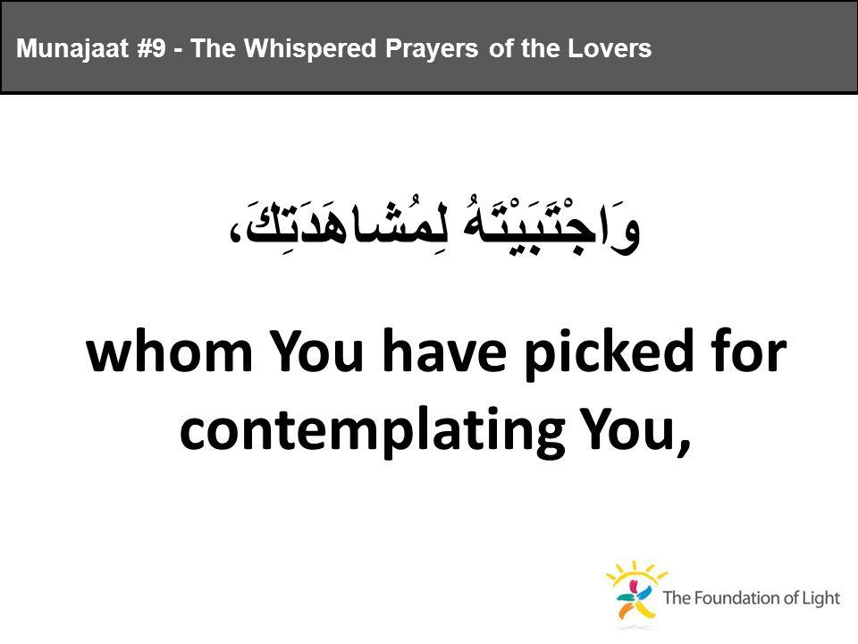 وَاجْتَبَيْتَهُ لِمُشاهَدَتِكَ، whom You have picked for contemplating You, Munajaat #9 - The Whispered Prayers of the Lovers