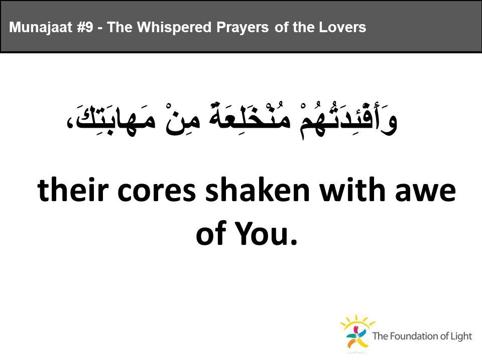 وَأَفْئِدَتُهُمْ مُنْخَلِعَةٌ مِنْ مَهابَتِكَ، their cores shaken with awe of You.