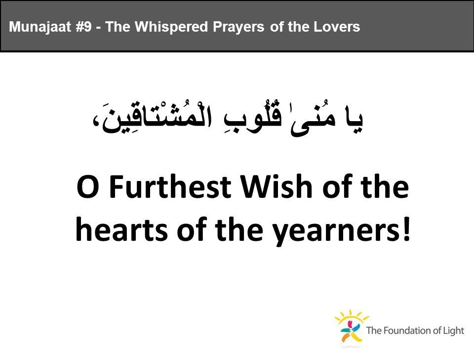 يا مُنىٰ قُلُوبِ الْمُشْتاقِينَ، O Furthest Wish of the hearts of the yearners.