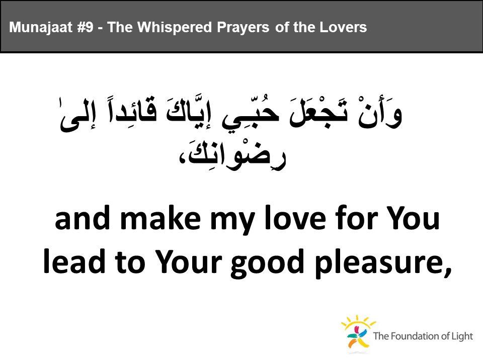 وَأَنْ تَجْعَلَ حُبّـِي إيَّاكَ قائِداً إلىٰ رِضْوانِكَ، and make my love for You lead to Your good pleasure, Munajaat #9 - The Whispered Prayers of the Lovers