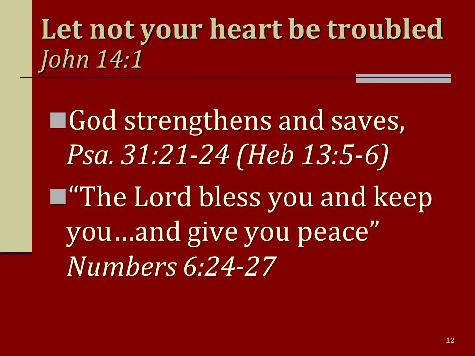 12 Let not your heart be troubled John 14:1 God strengthens and saves, Psa.