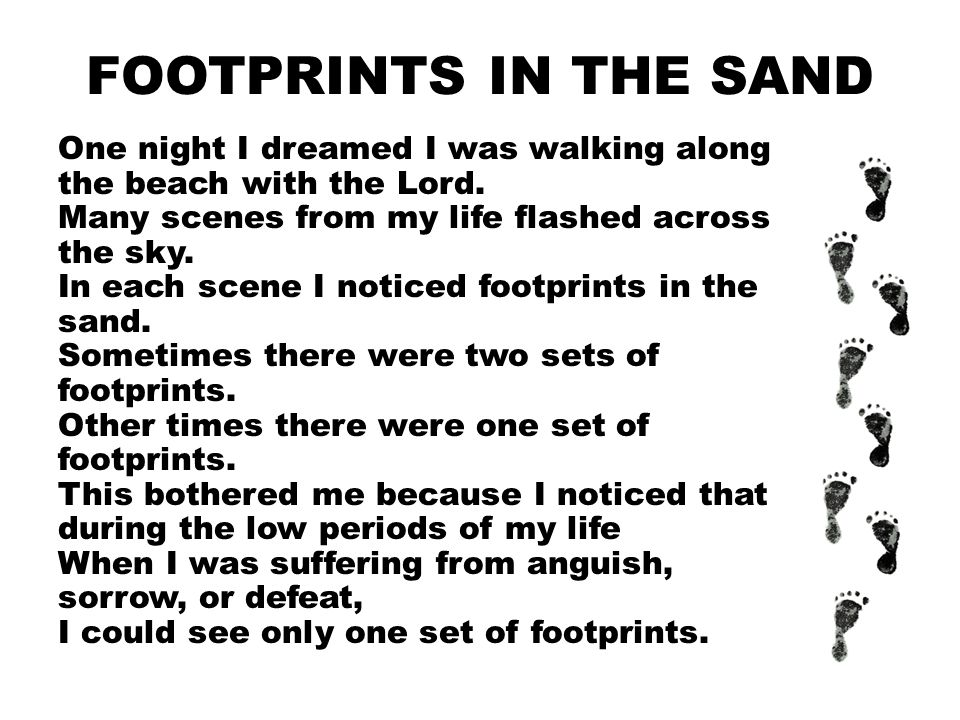 FOOTPRINTS IN THE SAND One night I dreamed I was walking along the beach with the Lord.