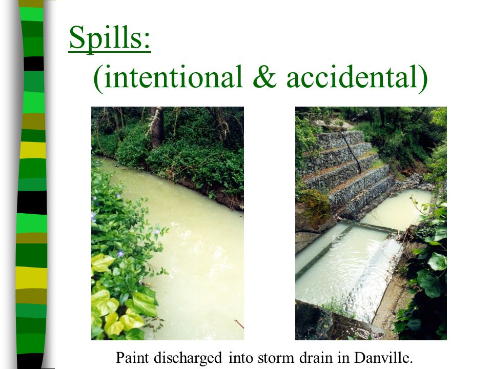 Spills: (intentional & accidental) Paint discharged into storm drain in Danville.