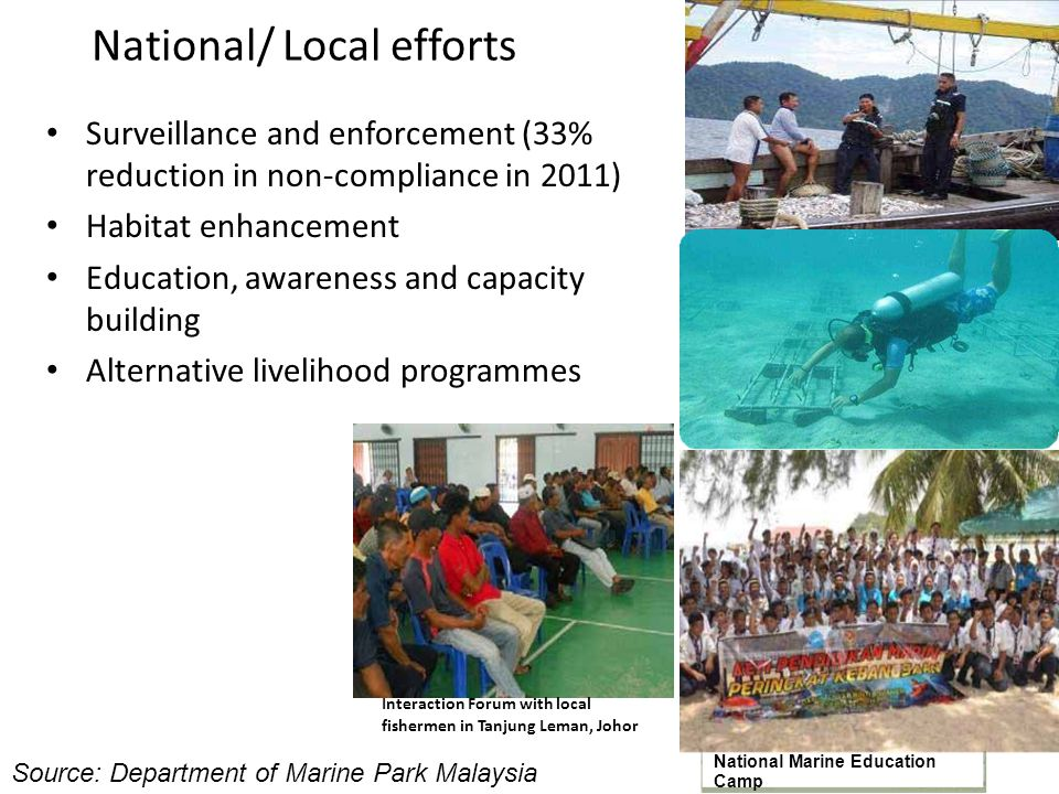 National/ Local efforts Surveillance and enforcement (33% reduction in non-compliance in 2011) Habitat enhancement Education, awareness and capacity b