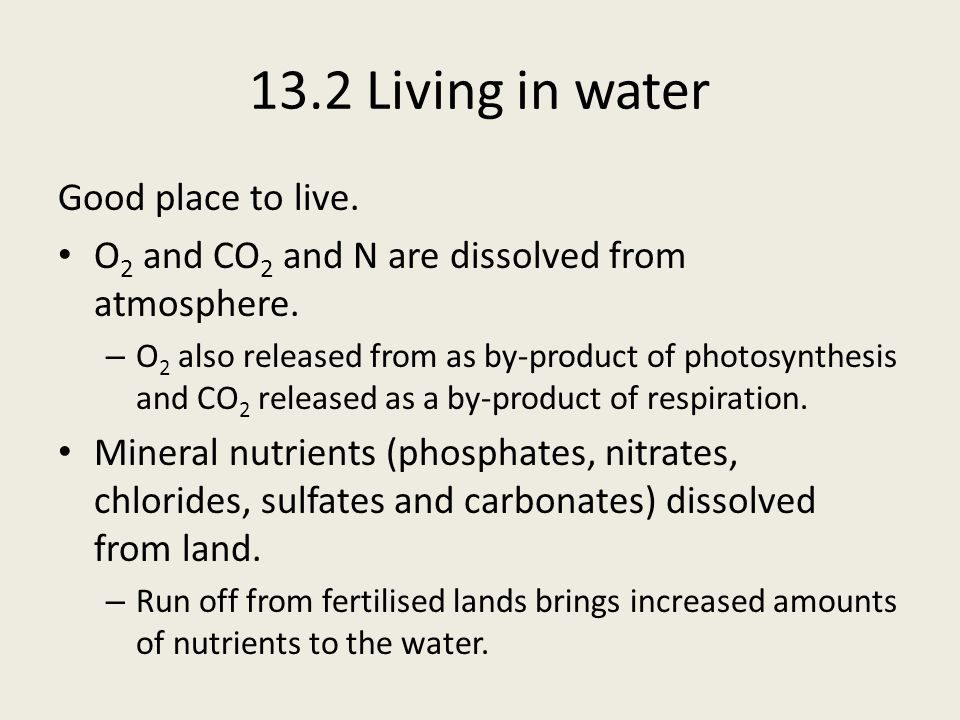 13.2 Living in water Abiotic factor – pH pH – determined by amount of CO 2 dissolved in water, which forms carbonic acid (H 2 CO 3 ).