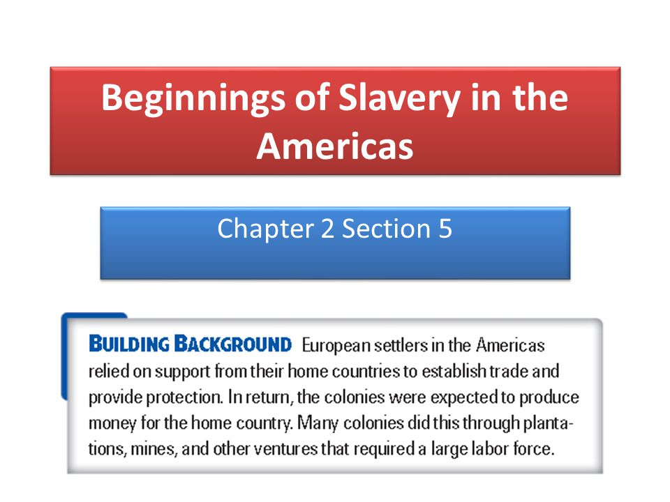Beginnings of Slavery in the Americas Chapter 2 Section 5
