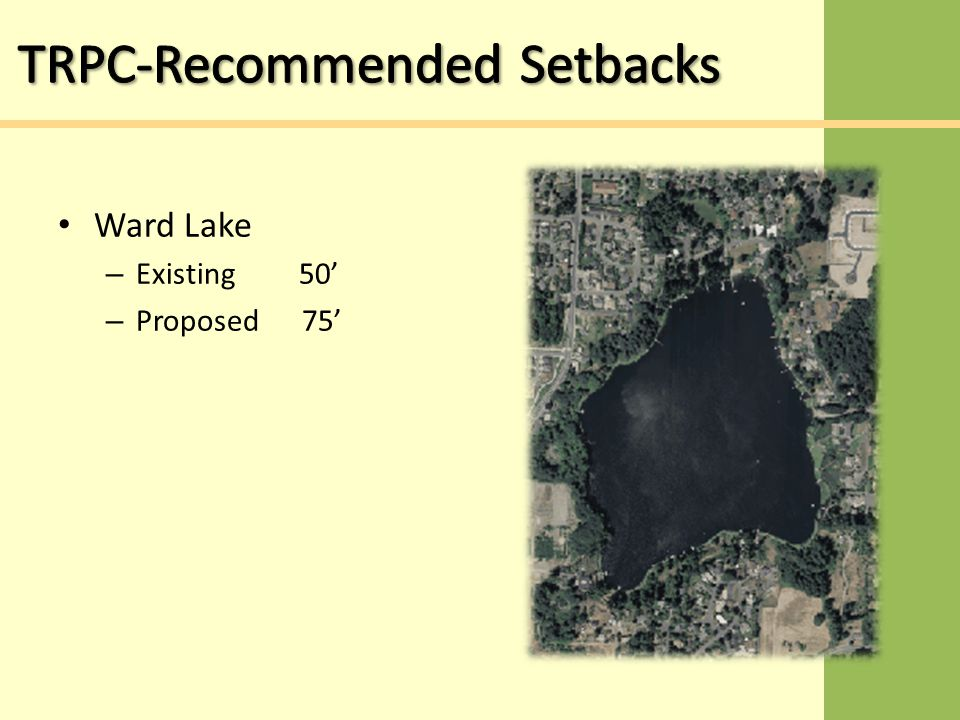 Ward Lake – Existing 50' – Proposed 75'