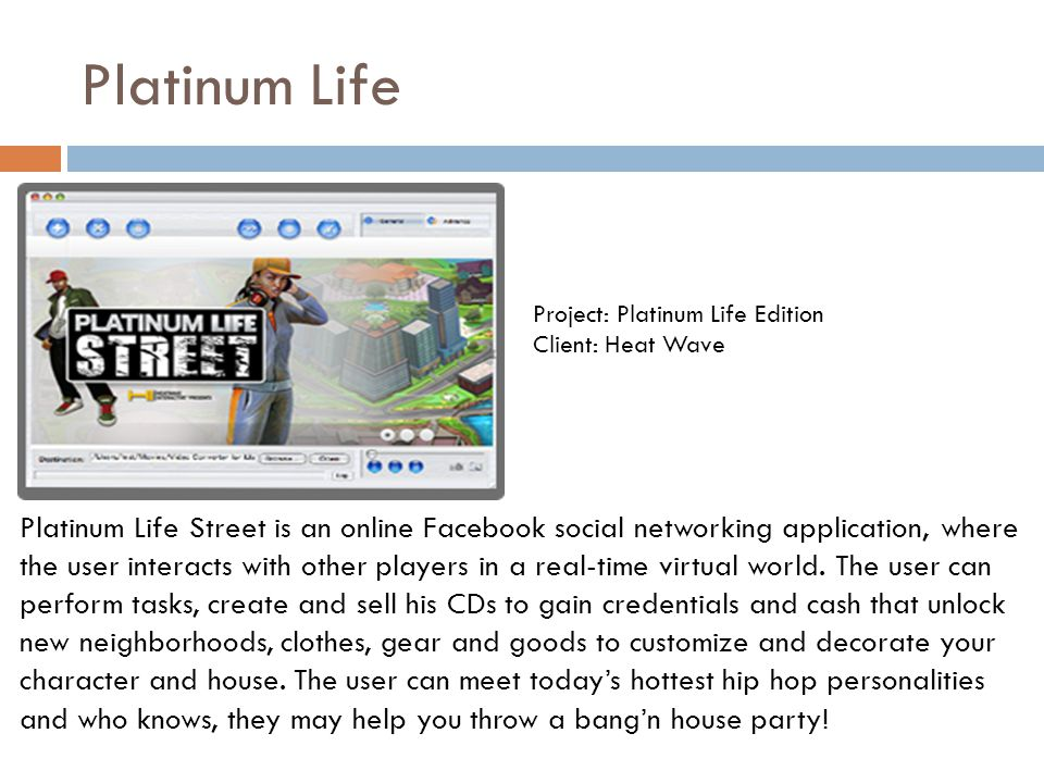 Platinum Life Platinum Life Street is an online Facebook social networking application, where the user interacts with other players in a real-time vir