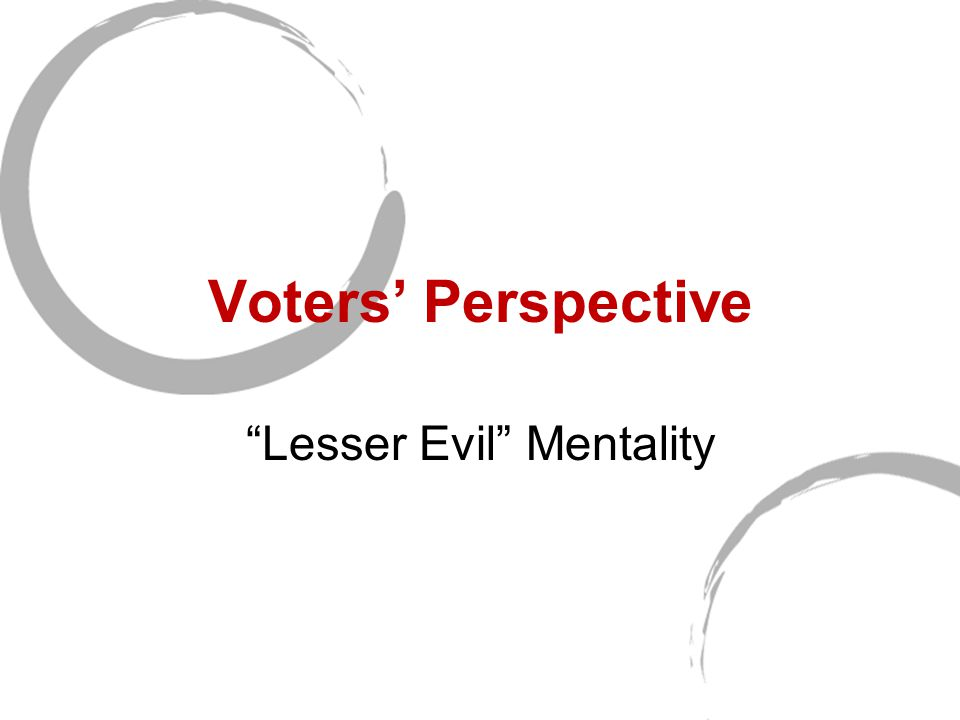 Voters' Perspective Lesser Evil Mentality