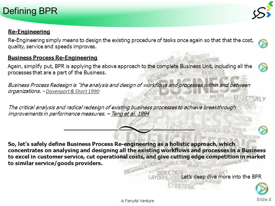 Defining BPR A FieryAir Venture Re-Engineering Re-Engineering simply means to design the existing procedure of tasks once again so that that the cost,