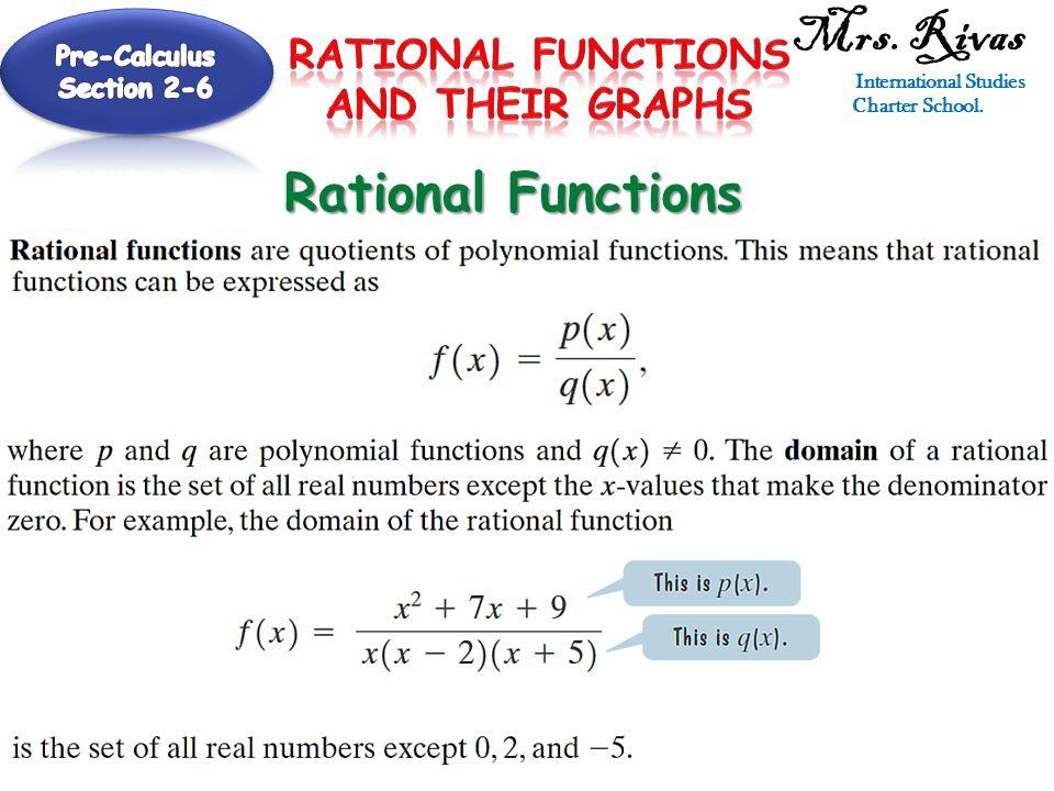 Mrs. Rivas International Studies Charter School. Rational Functions