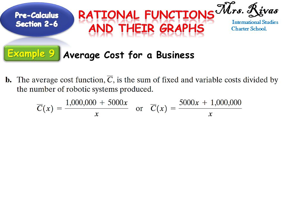 Mrs. Rivas International Studies Charter School. Average Cost for a Business Example 9