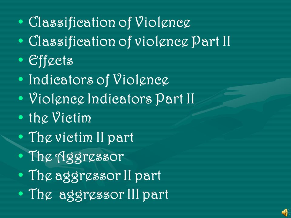 What is it? Forms of Violence Causes of Violence Causes of Violence Part II impact Consequences Part II Risk Factors Risk Factors Part II Categories o