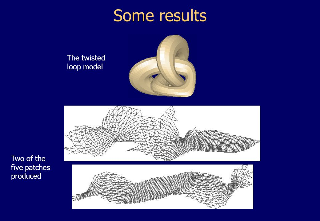 Some results The twisted loop model Two of the five patches produced