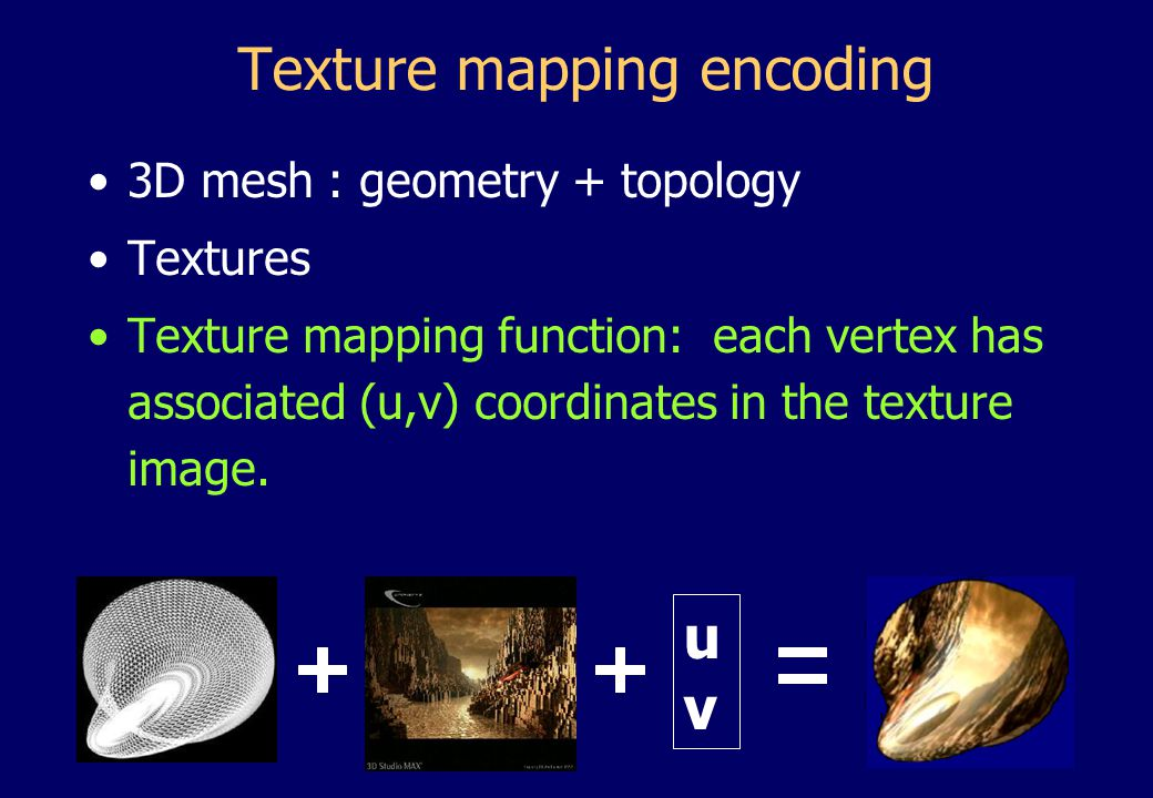 Texture mapping encoding 3D mesh : geometry + topology Textures Texture mapping function: each vertex has associated (u,v) coordinates in the texture image.