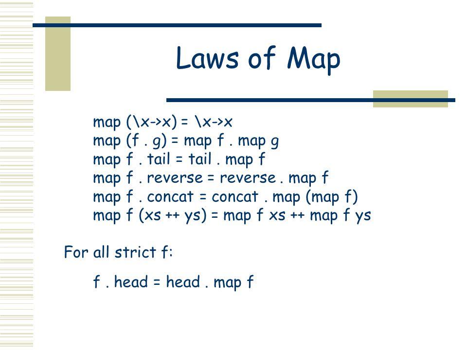 Laws of Map map (\x->x) = \x->x map (f. g) = map f. map g map f. tail = tail. map f map f. reverse = reverse. map f map f. concat = concat. map (map f