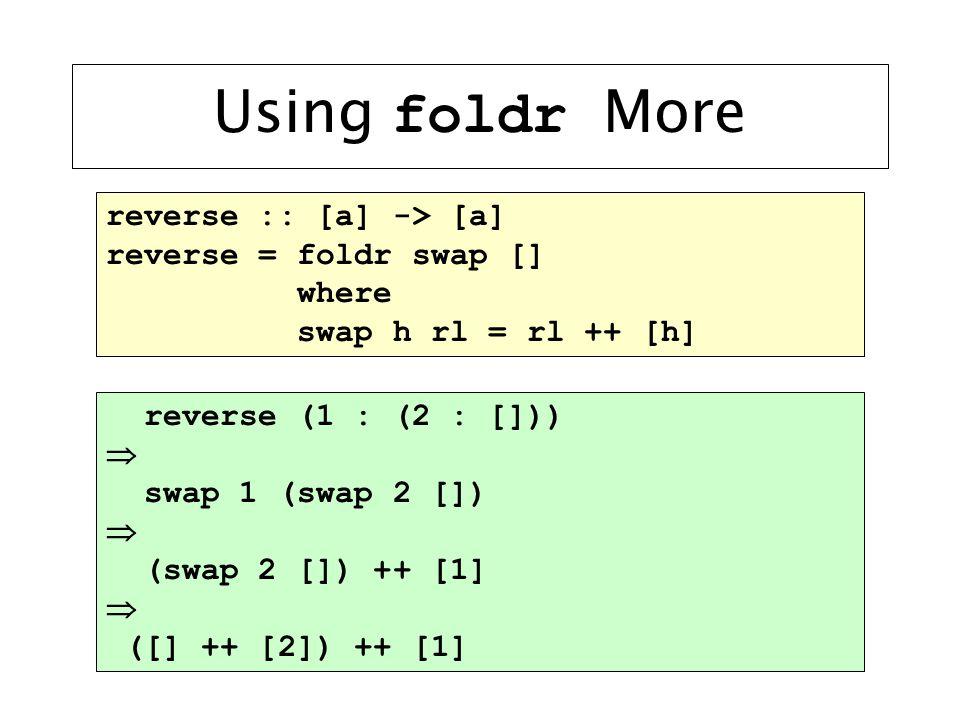 Using foldr More reverse :: [a] -> [a] reverse = foldr swap [] where swap h rl = rl ++ [h] reverse (1 : (2 : []))  swap 1 (swap 2 [])  (swap 2 []) ++ [1]  ([] ++ [2]) ++ [1]