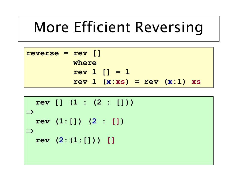 More Efficient Reversing reverse = rev [] where rev l [] = l rev l (x:xs) = rev (x:l) xs rev [] (1 : (2 : []))  rev (1:[]) (2 : [])  rev (2:(1:[])) []