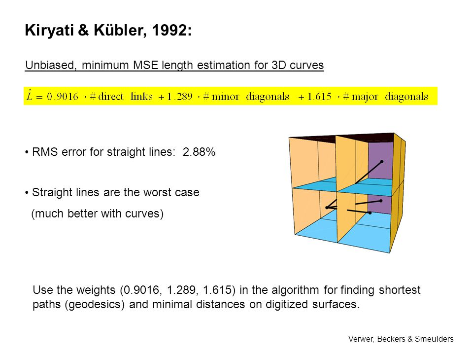 Kiryati & Kübler, 1992: Unbiased, minimum MSE length estimation for 3D curves RMS error for straight lines: 2.88% Straight lines are the worst case (much better with curves) Use the weights (0.9016, 1.289, 1.615) in the algorithm for finding shortest paths (geodesics) and minimal distances on digitized surfaces.