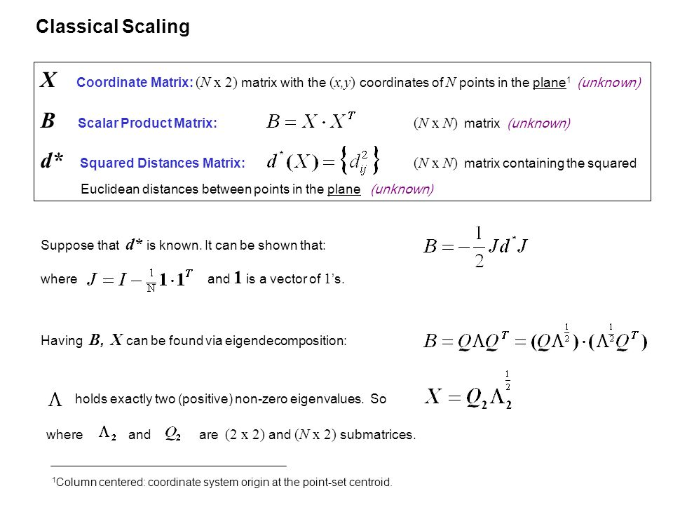 Classical Scaling X Coordinate Matrix: (N x 2) matrix with the (x,y) coordinates of N points in the plane 1 (unknown) B Scalar Product Matrix: (N x N) matrix (unknown) d* Squared Distances Matrix: (N x N) matrix containing the squared Euclidean distances between points in the plane (unknown) Suppose that d* is known.