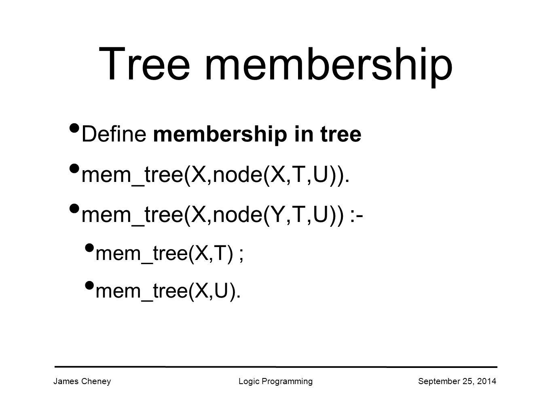 James CheneyLogic ProgrammingSeptember 25, 2014 Tree membership Define membership in tree mem_tree(X,node(X,T,U)).