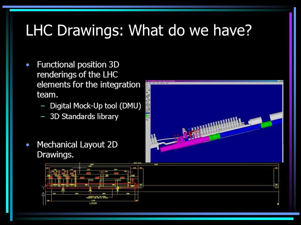 2D layouts of all machine systems Dimensioning Top and Front Views Block title with CDD number for official drawings and sticker for non-official ones History of changes on official drawings Reliable and fast service to users LHC Drawings: What do we need?