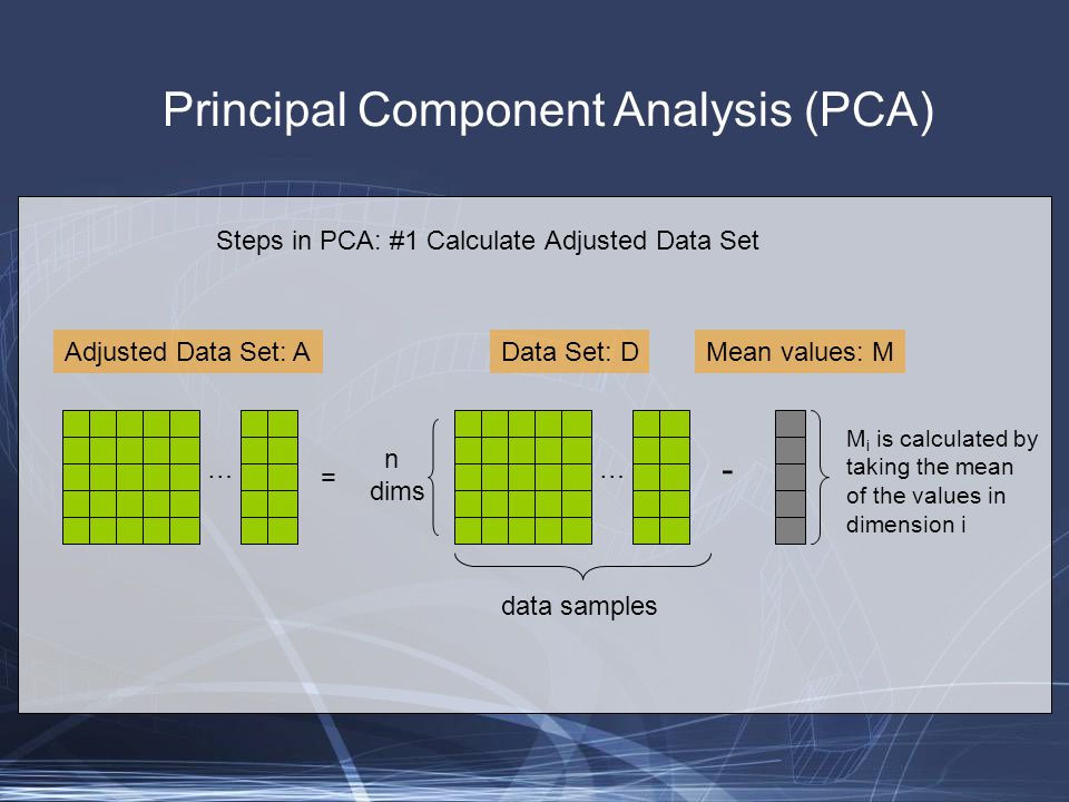 Principal Component Analysis (PCA) Steps in PCA: #1 Calculate Adjusted Data Set … n dims data samples Data Set: DMean values: M - … Adjusted Data Set: A = M i is calculated by taking the mean of the values in dimension i