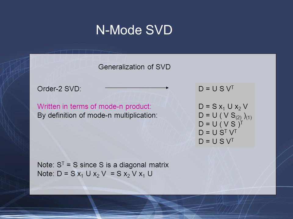 Generalization of SVD N-Mode SVD Order-2 SVD: Written in terms of mode-n product: By definition of mode-n multiplication: Note: S T = S since S is a diagonal matrix Note: D = S x 1 U x 2 V = S x 2 V x 1 U D = U S V T D = S x 1 U x 2 V D = U ( V S (2) ) (1) D = U ( V S ) T D = U S T V T D = U S V T