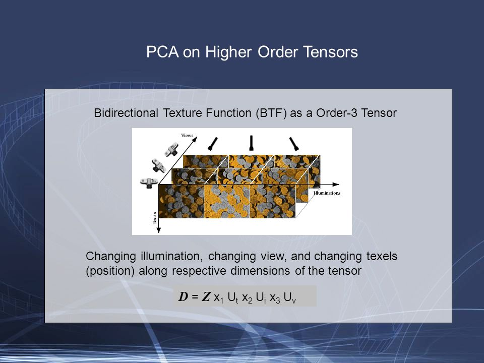 PCA on Higher Order Tensors Bidirectional Texture Function (BTF) as a Order-3 Tensor Changing illumination, changing view, and changing texels (position) along respective dimensions of the tensor D = Z x 1 U t x 2 U i x 3 U v