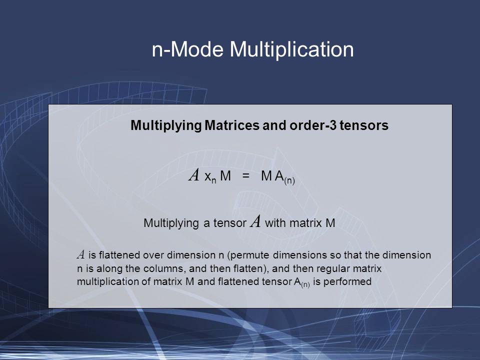 Generalization of SVD N-Mode SVD Order-3 SVD: D = Z x 1 U 1 x 2 U 2 x 3 U 3 Z, the core tensor, is the counterpart of S in Order-2 SVD U 1, U 2, and U 3 are known as mode matrices Mode matrix U i is obtained as follows: perform Order-2 SVD on D (i), the matrix obtained by flattening the tensor D on the i'th dimension.