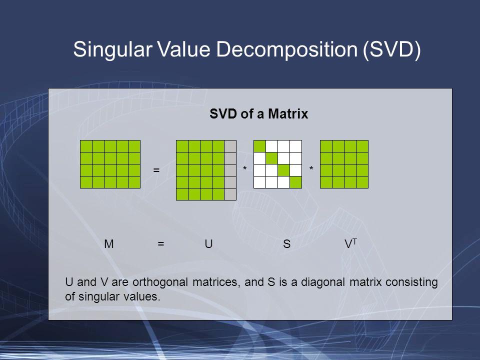 Singular Value Decomposition (SVD) SVD of a Matrix: observations M = U S V T Multiply both sides by M T M T M = (U S V T ) T U S V T M T M = (V S U T ) U S V T U T U = I M T M = V S 2 V T MM T = U S V T (U S V T ) T MM T = U S V T (V S U T ) V T V = I MM T = U S 2 U T Multiplying on the leftMultiplying on the right