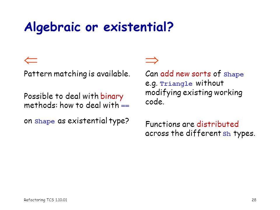 Refactoring TCS 1.10.0128 Algebraic or existential.