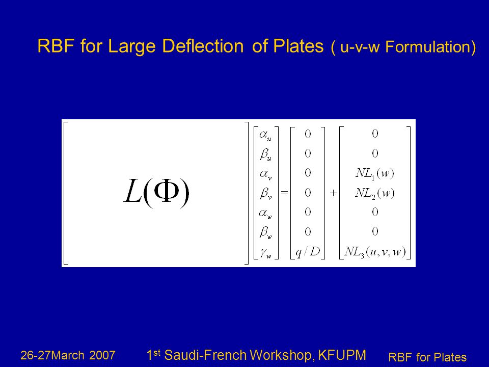 26-27March 2007 RBF for Plates 1 st Saudi-French Workshop, KFUPM RBF for Large Deflection of Plates ( u-v-w Formulation)