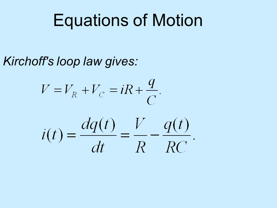 Equations of Motion Kirchoff's loop law gives: