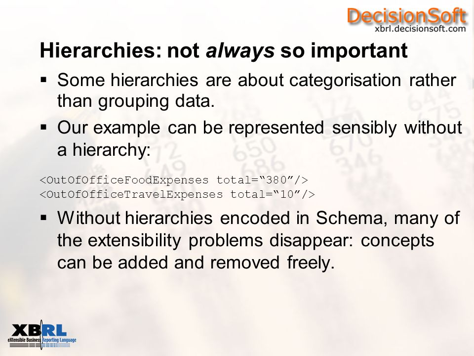 Hierarchies: not always so important  Some hierarchies are about categorisation rather than grouping data.  Our example can be represented sensibly