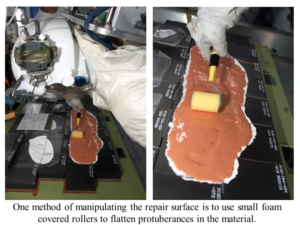 One method of manipulating the repair surface is to use small foam covered rollers to flatten protuberances in the material.