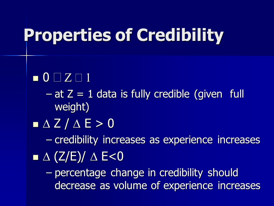 Incorporating Credibility Credibility: how much weight do you assign to a given body of data.