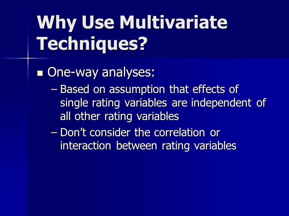 Advanced Techniques Multivariate techniques Multivariate techniques –Why use multivariate techniques –Minimum Bias techniques –Example Generalized Linear Models Generalized Linear Models