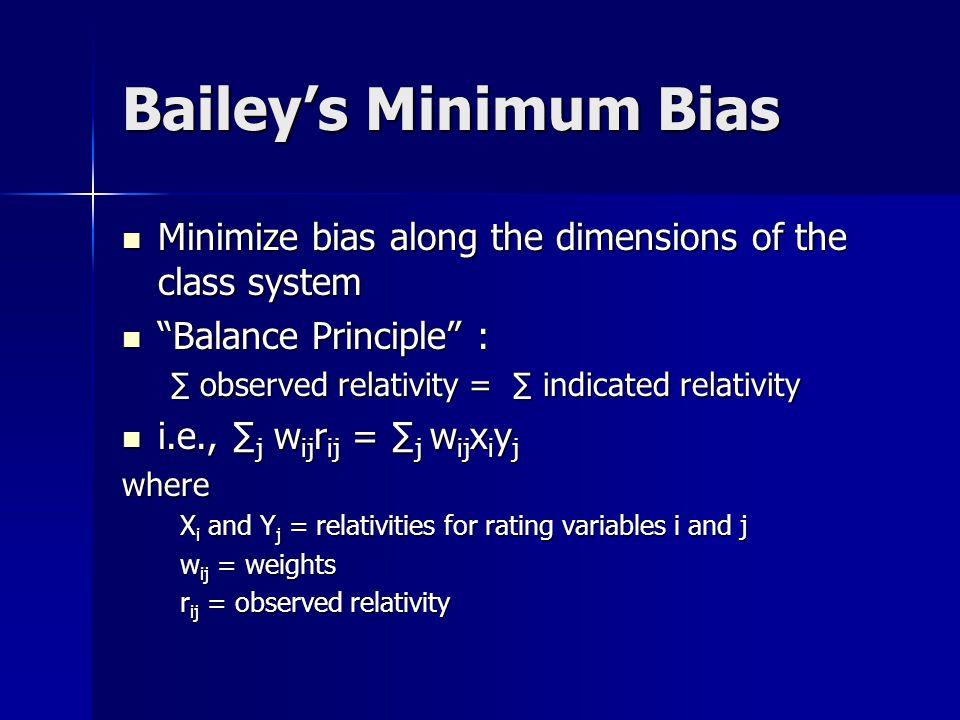 Least Squares Method Formula: X i = ∑ j w ij r ij Y j X i = ∑ j w ij r ij Y j where X i and Y j = relativities for rating variables i and j X i and Y j = relativities for rating variables i and j w ij = weights w ij = weights r ij = observed relativity r ij = observed relativity ∑ j w ij ( Y j ) 2