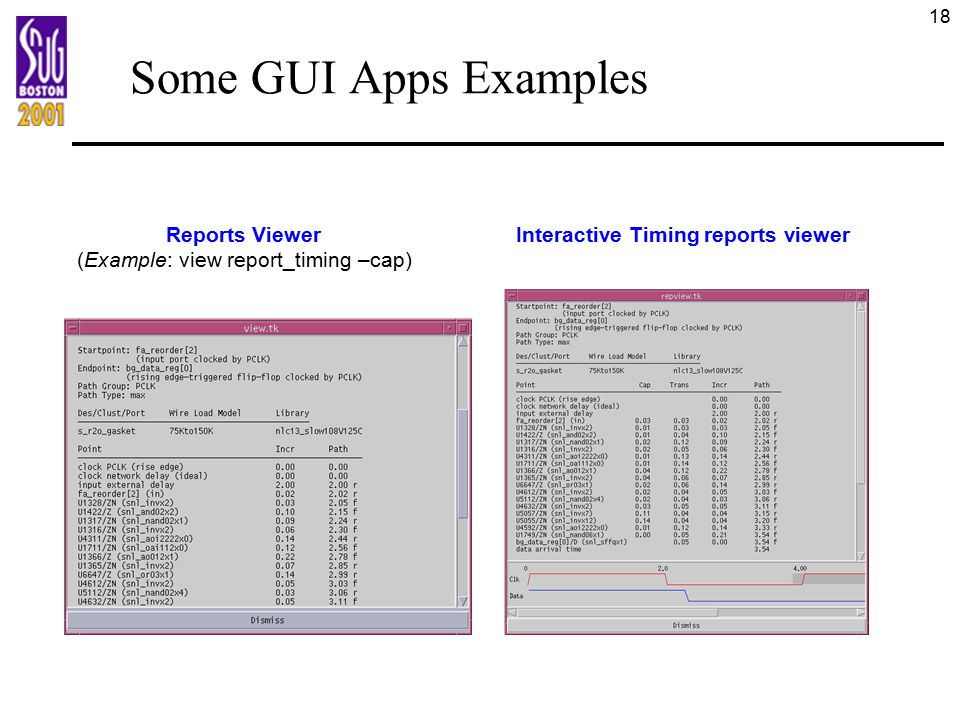 18 Some GUI Apps Examples Reports Viewer (Example: view report_timing –cap) Interactive Timing reports viewer