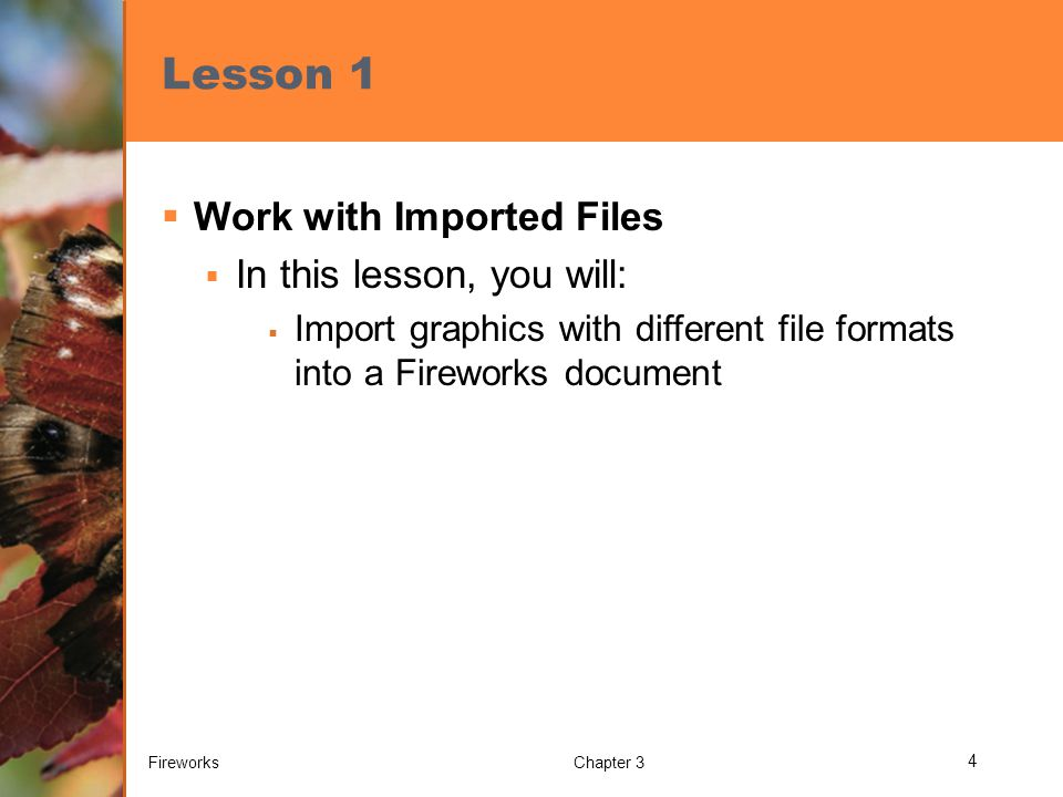 Lesson 1  Work with Imported Files  In this lesson, you will:  Import graphics with different file formats into a Fireworks document FireworksChapter 3 4
