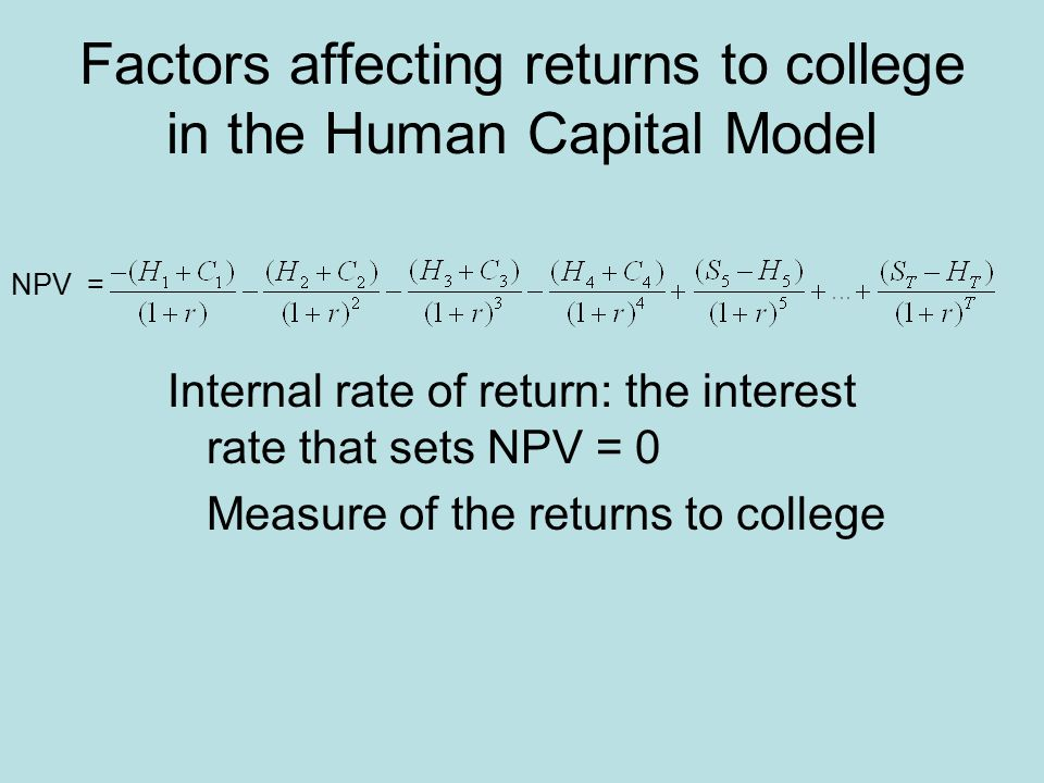 Internal rate of return: the interest rate that sets NPV = 0 Measure of the returns to college NPV = Factors affecting returns to college in the Human Capital Model