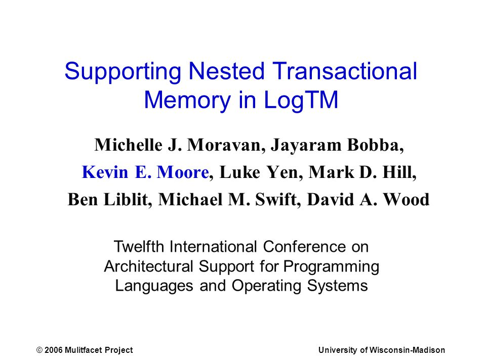 © 2006 Mulitfacet ProjectUniversity of Wisconsin-Madison Supporting Nested Transactional Memory in LogTM Michelle J.