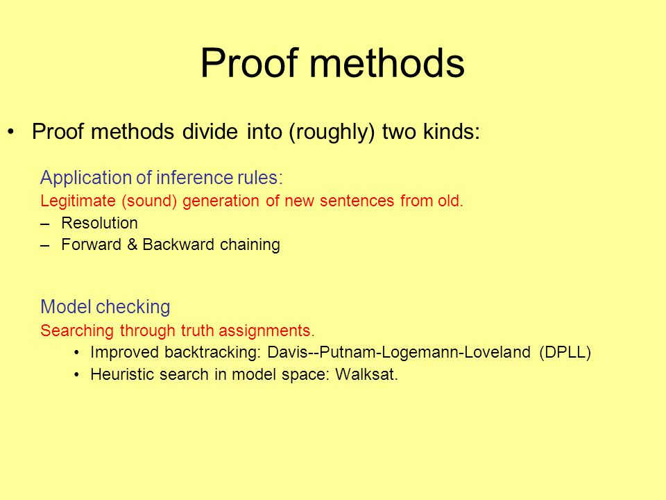 Proof methods Proof methods divide into (roughly) two kinds: Application of inference rules: Legitimate (sound) generation of new sentences from old.