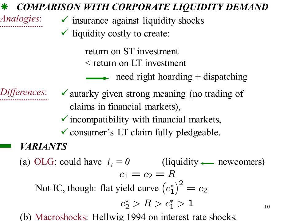 10 COMPARISON WITH CORPORATE LIQUIDITY DEMAND  insurance against liquidity shocks liquidity costly to create: return on ST investment < return on LT investment need right hoarding + dispatching Analogies: autarky given strong meaning (no trading of claims in financial markets), incompatibility with financial markets, consumer's LT claim fully pledgeable.
