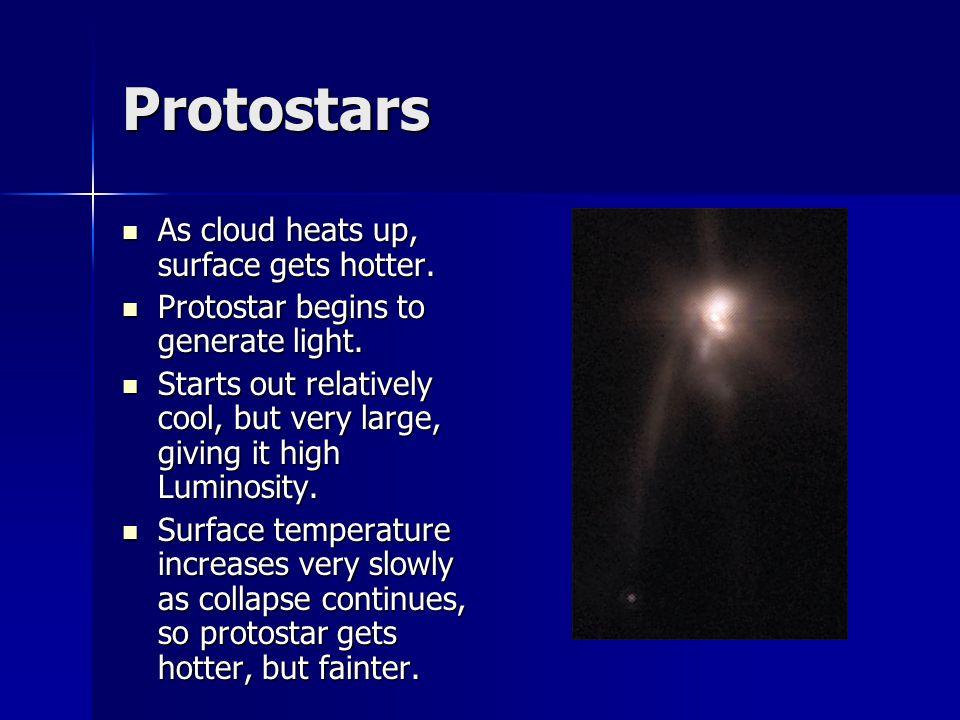 Protostars As cloud heats up, surface gets hotter. As cloud heats up, surface gets hotter. Protostar begins to generate light. Protostar begins to gen